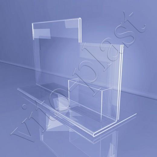 Информационная подставка на две секции с карманом 02-11