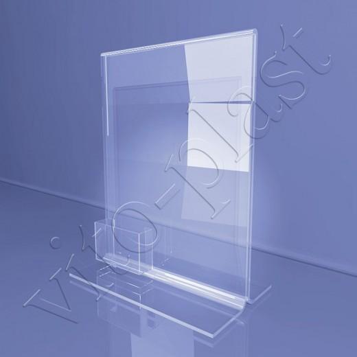 Настольная подставка под меню с карманом под визитки 02-19